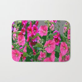 ENGLISH COTTAGE  PINK HOLLYHOCKS  GREEN & GREY GARDEN Bath Mat