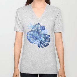 Blue tropical pattern  (monstera leaves and bird of paradise flowers Unisex V-Neck