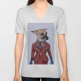 dog in uniform Unisex V-Neck