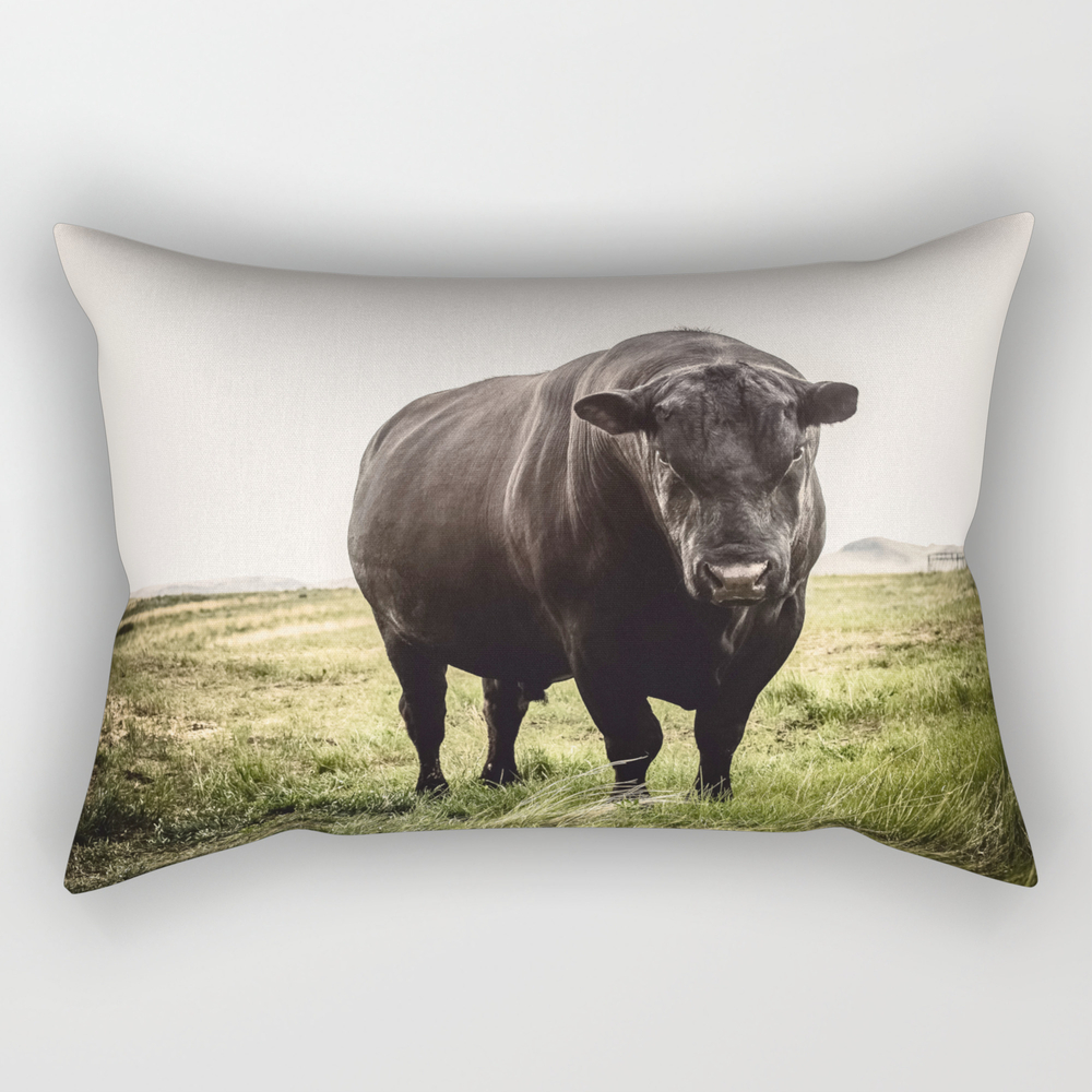Big Black Angus Bull Rectangular Pillow RPW8646793