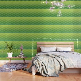 Japanese style wood carving pattern in green Wallpaper