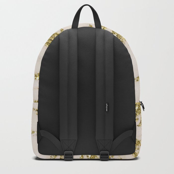 Marble - Gold Marble Glittery Light Pink and Yellow Gold Backpack