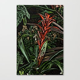 Spiky Red Flower Woodcut Canvas Print