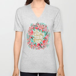 The Earth Laughs in Flowers – Pink & Gold Unisex V-Neck
