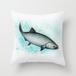 """""""Salmon Splash"""" by Amber Marine ~ Watercolor Painting (Copyright 2016) Throw Pillow"""