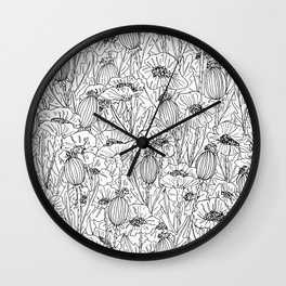 Poppies in Black and White Wall Clock