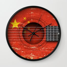 Old Vintage Acoustic Guitar with Chinese Flag Wall Clock