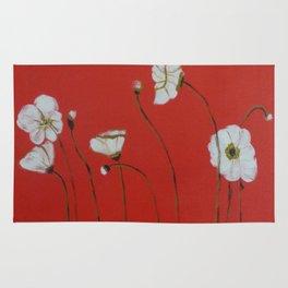 Asian White Poppies Rug