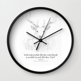 Psalm 42:1 Stag Wall Clock