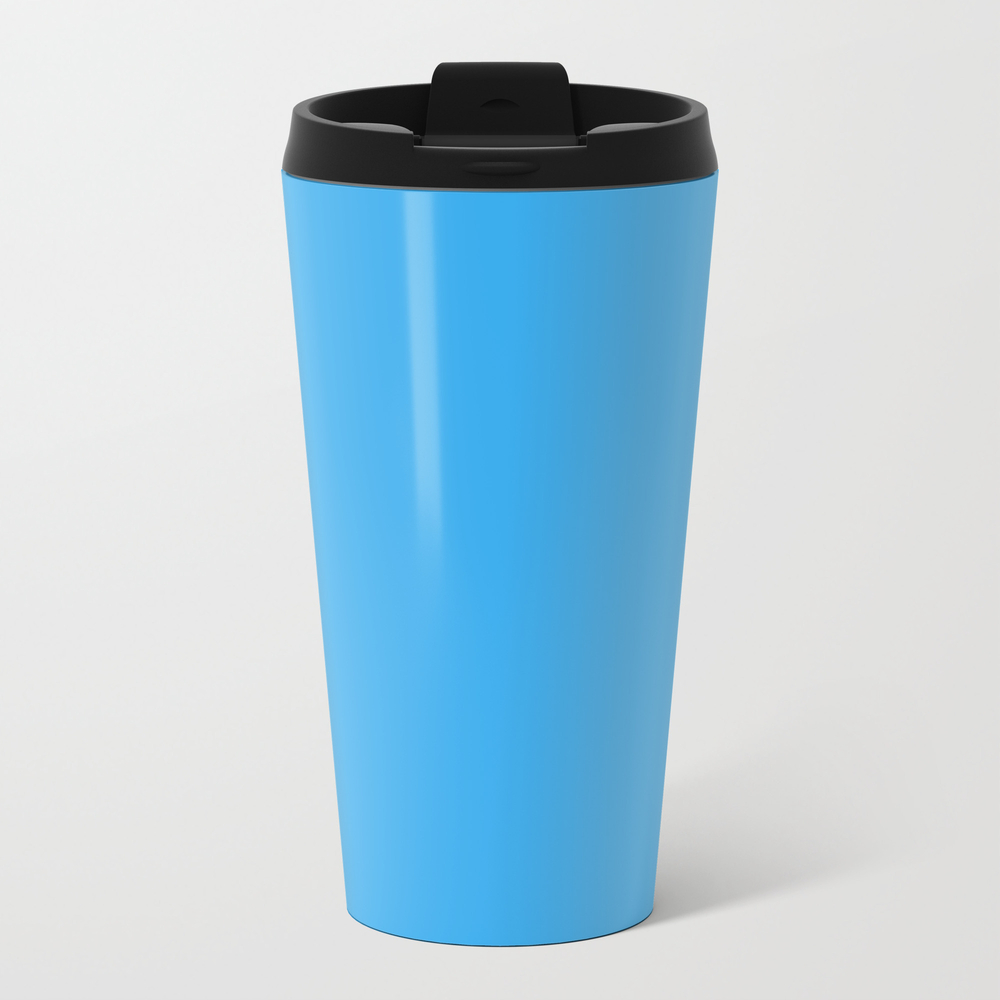 Solid Bright Butterfly Blue Color Metal Travel Mug by Podartist MTM9009344