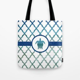 Turtle: Tropical Water Moroccan Pattern Tote Bag