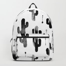 Black and white ink cactus garden indian summer Backpack