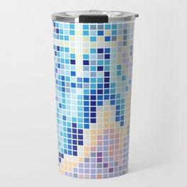 Pixelated Nebula Blue Travel Mug