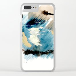You are an Ocean - abstract India Ink & Acrylic in blue, gray, brown, black and white Clear iPhone Case