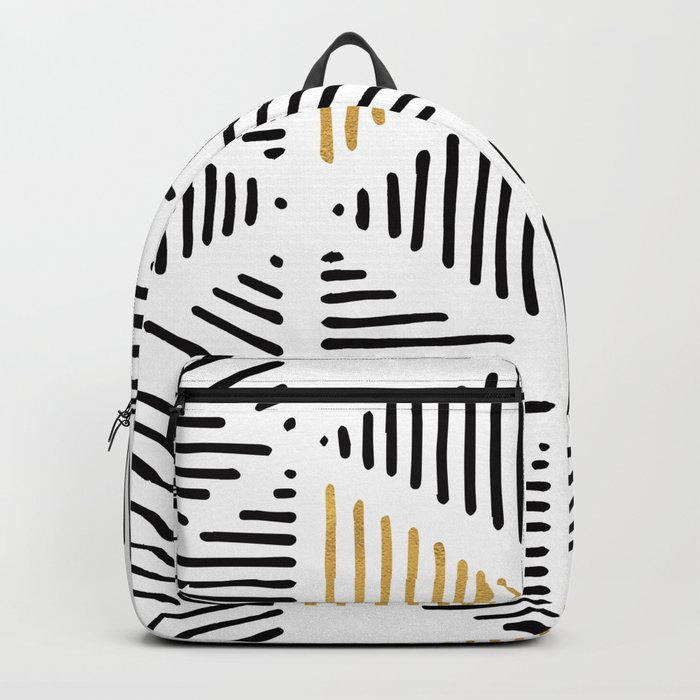 Simple Geometric Zig Zag Pattern - Black Gold White - Mix & Match with Simplicity of life Backpack