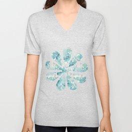 Blue green watercolor flower pattern Unisex V-Neck