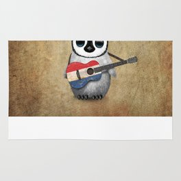 Baby Penguin Playing Dutch Flag Acoustic Guitar Rug