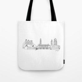 Kansas City Skyline Illustration Black Line Art Tote Bag