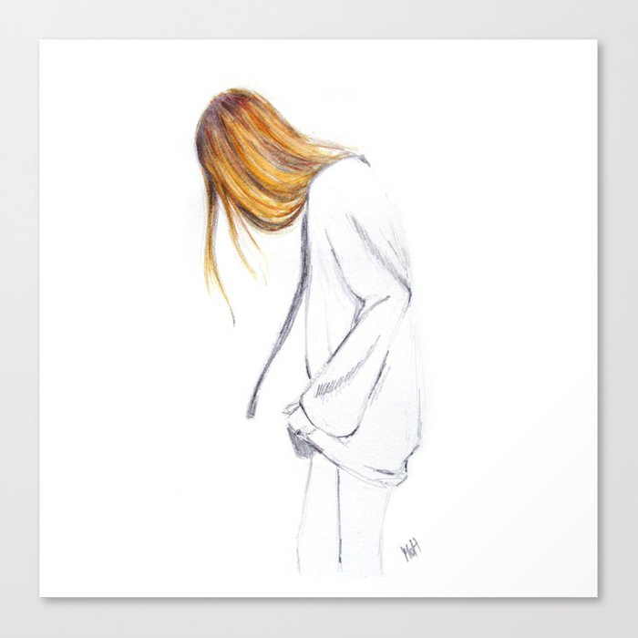 blonde hair girl canvas print by martadehojas society6