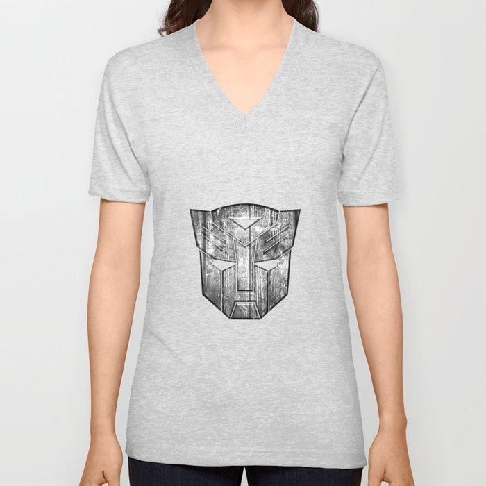 Autobot Monochrome Wood Texture Unisex V-Neck