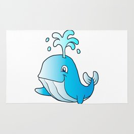 whale cartoon Rug