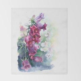 Campanula watercolor flowers aquarelle bellflowers Throw Blanket