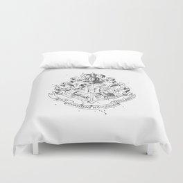 Hogwarts Crest Black and White Duvet Cover
