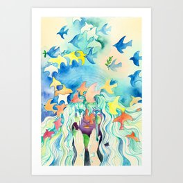 Girl With Birds water colour painting  Art Print