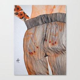 Se toca el culo para quitarse las medias. Canvas Print