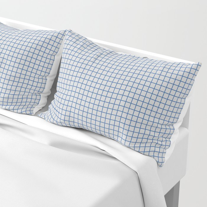 Blue grid pattern on ice grey Pillow Sham