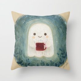 Little ghost with mug Throw Pillow