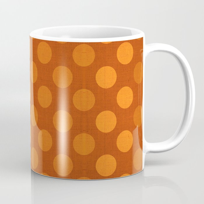 """Orange Burlap Texture & Polka Dots"" Coffee Mug"
