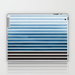 Watercolor Gouache Mid Century Modern Minimalist Colorful Green Blue Stripes Laptop & iPad Skin