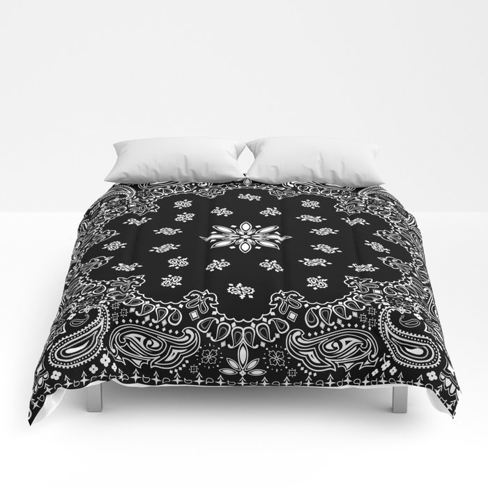 Black And White Bandana Pattern Comforters By
