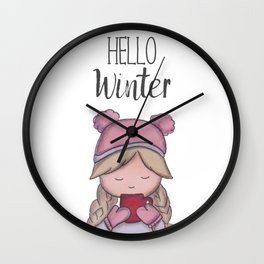 Hello winter | cold time | winter time | Art print | marker painting Wall Clock