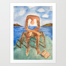 Fan art: melancholie sculpture with a dropped open book and sea view Art Print