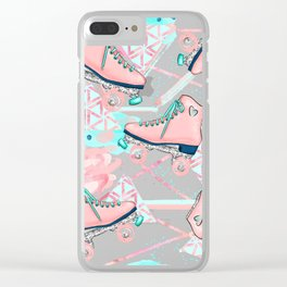 Pink Aqua Roller Skates Clear iPhone Case