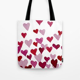 Valentine's Day Watercolor Hearts - pink Tote Bag