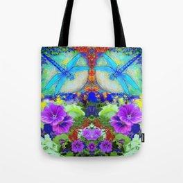 "BLUE ""ZINGER"" DRAGONFLIES  & PURPLE FLOWERS ART Tote Bag"