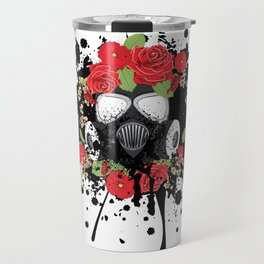 Gas Mask with Red Roses Travel Mug