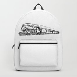 Old Steam Train Detailed Illustration Backpack