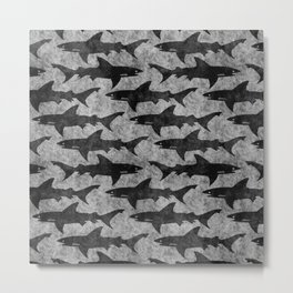 Gray and Black Shark Pattern Metal Print