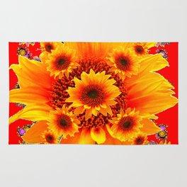 Red & Yellow Sunflower Art Rug
