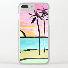 Graphic Palms Clear iPhone Case