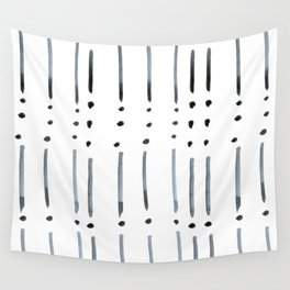 black and white dots and dashes boho modern Wall Tapestry