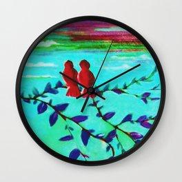Red Love Birds Wall Clock