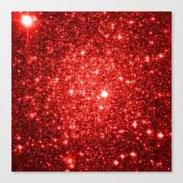 GalaXy : Red Glitter Sparkle Canvas Print