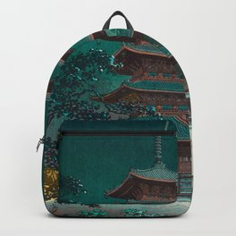 Tsuchiya Kôitsu Japanese Woodblock Vintage Print Garden At Night Moonlit Pagoda Tower Turquoise Sky Backpack
