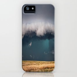 Small - Large Storm Towering Over Windmill in Texas iPhone Case