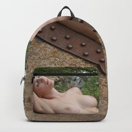 6893-LP Industrial Odalisque Fine Art Nude Woman by the Dead River Backpack